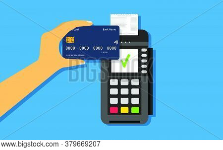 Wireless Credit Card Payment. Nfc Payments. Pos Terminal And Credit Card In Hand. Vector Flat Style.