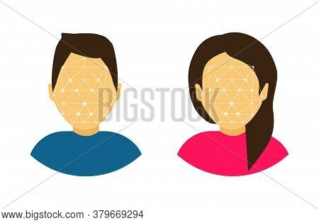 Face Recognition. Scanning Face Male And Female Avatars. Face Id. Cartoon Style.