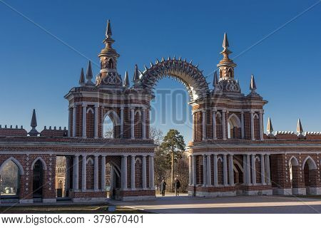 Moscow, Russia - 06,04,2019 View Of The Tsaritsyno Palace In Moscow . The  Tsaritsyno Palace Is A Fa