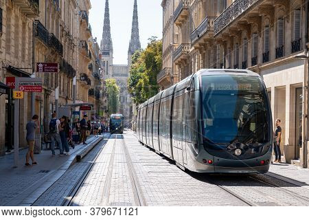 Bordeaux , Aquitaine / France - 11 19 2019 : Modern City Tramway Electric On A Streets Of Bordeaux F