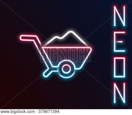 Glowing Neon Line Wheelbarrow With Dirt Icon Isolated On Black Background. Tool Equipment. Agricultu