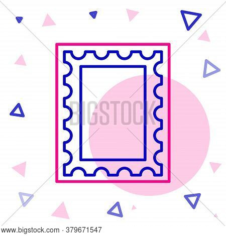 Line Postal Stamp Icon Isolated On White Background. Colorful Outline Concept. Vector Illustration