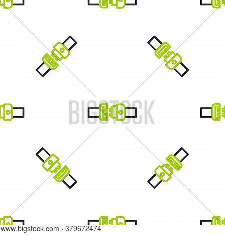 Line Safety Belt Icon Isolated Seamless Pattern On White Background. Seat Belt. Vector Illustration