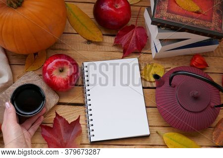 Thanksgiving . Autumn Mock Up.autumn Flat Lay. Blank Notebook,cup Of Tea In Hand, Teapot, Apples,pum