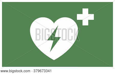 Aed Sticker. Emergency First Aid Defibrillator Sign Sticker