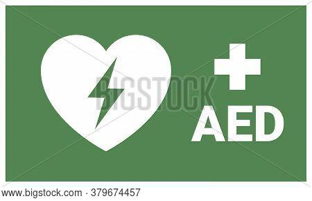 Aed. Emergency First Aid Defibrillator Sign Sticker