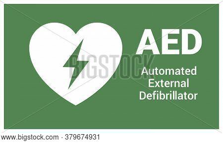 Automated External Defibrillator. Emergency First Aid Aed Defibrillator Sign Sticker