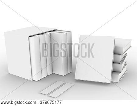 Template Empty Hardcover Book Mockup Set White Background , 3d Rendering