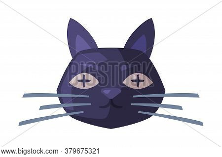 Scary Black Cat Head, Happy Halloween Object Cartoon Style Vector Illustration On White Background
