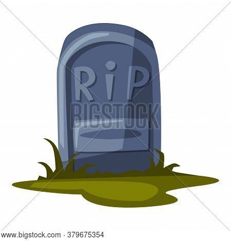 Old Gravestone, Happy Halloween Object Cartoon Style Vector Illustration On White Background