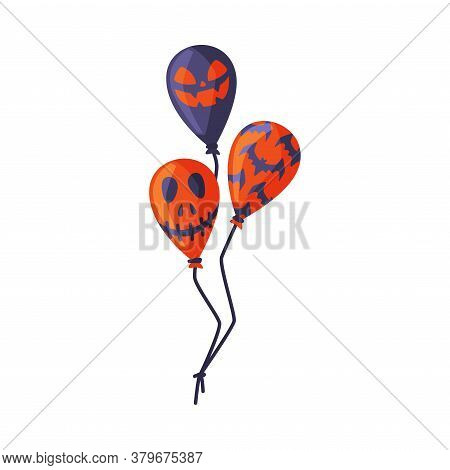 Flying Bunch Of Scary Air Balloons, Happy Halloween Objects Cartoon Style Vector Illustration On Whi
