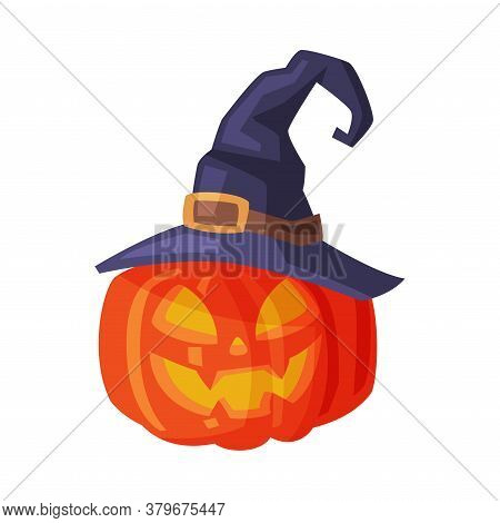 Halloween Scary Pumpkin In Black Witch Hat, Spooky Creepy Vegetable With Smiling Face, Happy Hallowe