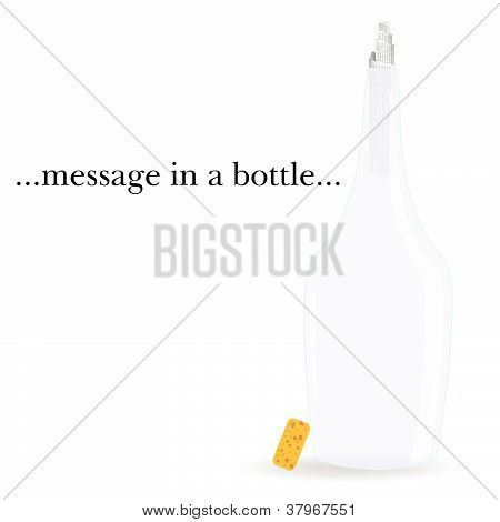 Message In A Bottle Vector Illustration