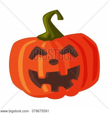 Halloween Scary Pumpkin, Spooky Creepy Vegetable With Smiling Face, Happy Halloween Object Cartoon S