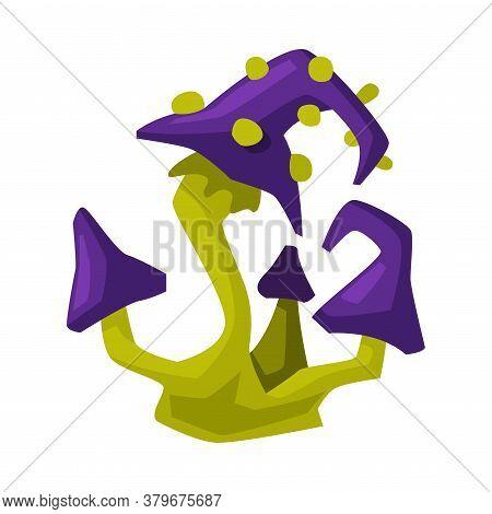 Poisonous Mushroom, Happy Halloween Objects Cartoon Style Vector Illustration On White Background