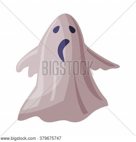 Scary Ghost, Happy Halloween Object Cartoon Style Vector Illustration On White Background