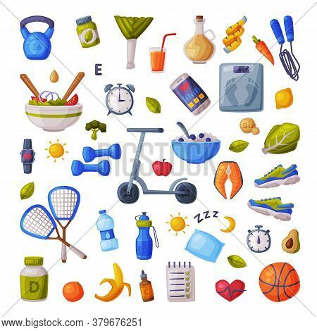 Healthy Lifestyle And Diet Big Set, Various Fitness And Sports Equipment, Useful Food, Proper Nutrit