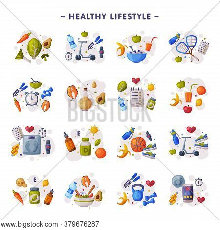 Healthy Lifestyle Set, Fitness And Sports Equipment, Proper Nutrition, Dieting Cartoon Style Vector