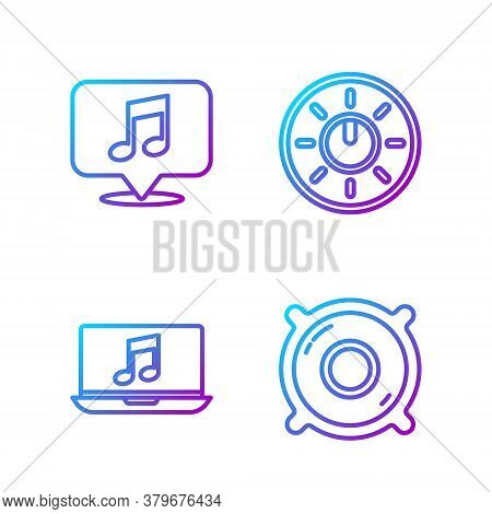 Set Line Stereo Speaker, Laptop With Music Note, Musical Note In Speech Bubble And Dial Knob Level T