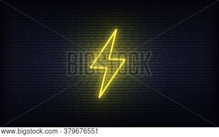 Lightning Bolt Neon. Sign Of Lightning, Thunder And Electricity.