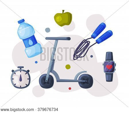 Sports And Healthy Lifestyle Objects, Kick Sooter, Skipping Rope, Bottle Of Water, Apple, Stopwatch,