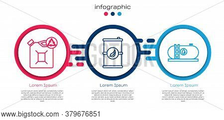 Set Line Eco Fuel Canister, Bio Fuel Barrel And Oil Industrial Factory Building. Business Infographi