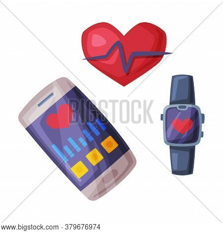 Smartphone And Smartwatch With Fitness Applications For Healthy Lifestyle Cartoon Style Vector Illus