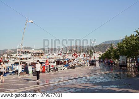 Turkey, Marmaris - June 29, 2020 - Empty Seafront And Marina, Quarantine Covid-19 Travel. Opening Se