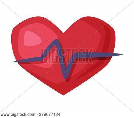 Heartbeat, Heart Beat Pulse, Healthy Lifestyle Concept Cartoon Style Vector Illustration