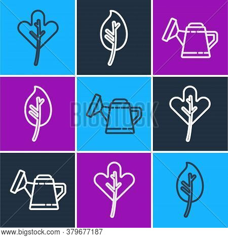 Set Line Leaf Or Leaves, Watering Can And Leaf Or Leaves Icon. Vector