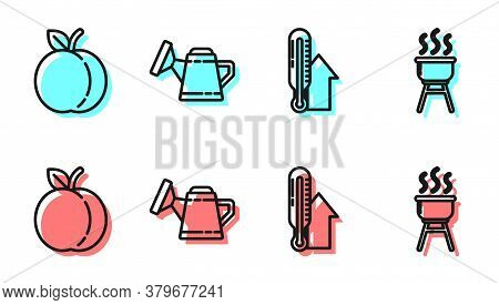 Set Line Meteorology Thermometer, Peach Fruit, Watering Can And Barbecue Grill Icon. Vector