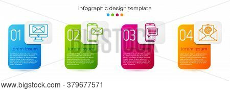 Set Line Monitor And Envelope, Mobile And Envelope, Chat Messages Notification On Phone And Mail And