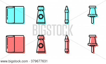 Set Line Wax Crayons For Drawing, Paper Towel Roll, Tube With Paint Palette And Push Pin Icon. Vecto