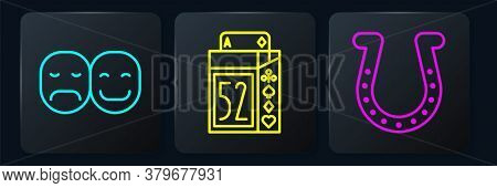 Set Line Poker Player, Horseshoe And Deck Of Playing Cards. Black Square Button. Vector