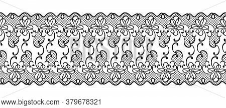 Lace Flowers Decoration Element. Lace Borders. Black Laced Silhouette Isolated On White Background.