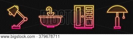 Set Line Wardrobe, Table Lamp, Washbasin With Water Tap And Table Lamp. Glowing Neon Icon. Vector