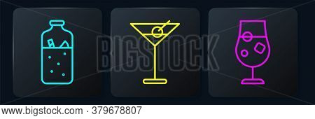 Set Line Mulled Wine, Cocktail And Alcohol Drink And Martini Glass. Black Square Button. Vector
