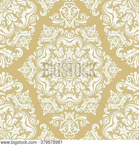 Orient Vector Classic Golden And White Pattern. Seamless Abstract Background With White Vintage Elem