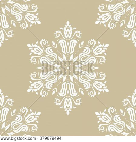 Classic Seamless Vector Pattern. Damask Orient Round White Ornament. Classic Vintage Background. Ori