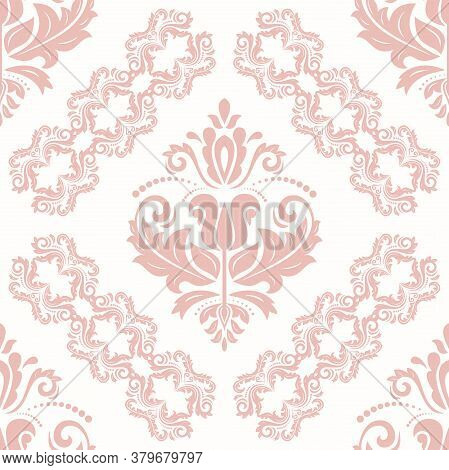Classic Pink And White Seamless Vector Pattern. Damask Orient Ornament. Classic Vintage Background.