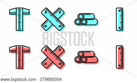 Set Line Industry Metallic Pipe, T-square Line, Crossed Ruler And Ruler Icon. Vector
