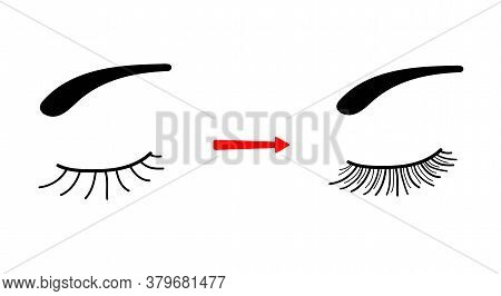 Women S Hogs And Eyelashes Before And After Eyelash Extension. The Result Of The Cosmetic Procedure.