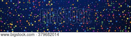 Festive Cute Confetti. Celebration Stars. Joyous Stars On Dark Blue Background. Actual Festive Overl
