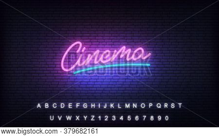 Cinema Neon Template. Glowing Neon Letteing Cinema Label