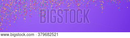 Festive Charming Confetti. Celebration Stars. Childish Bright Stars On Violet Background. Admirable