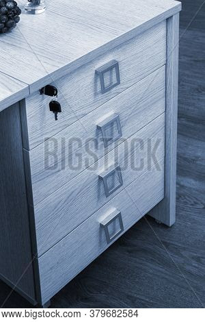 desk cupboard with drawers in a modern office