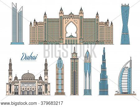 Set Of Dubai Skyscrapers And Hotels Icons Sketch Vector Illustration Isolated.