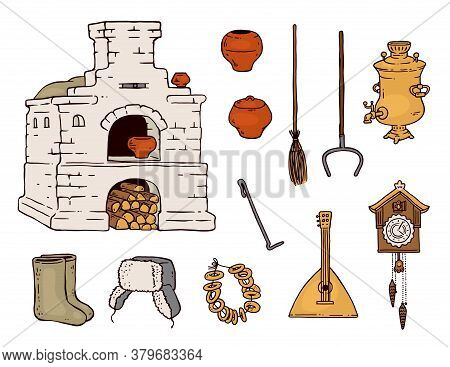 Traditional Old Russian Object Drawing Set - Balalaika, Wood Stove And Other