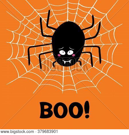 Cute Cartoon Black Spider With Guilty Look, White Cobweb And Boo Word On Orange Background. Hallowee