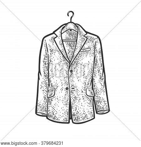 Jacket On Shoulders Clothes Hanger Sketch Engraving Vector Illustration. T-shirt Apparel Print Desig